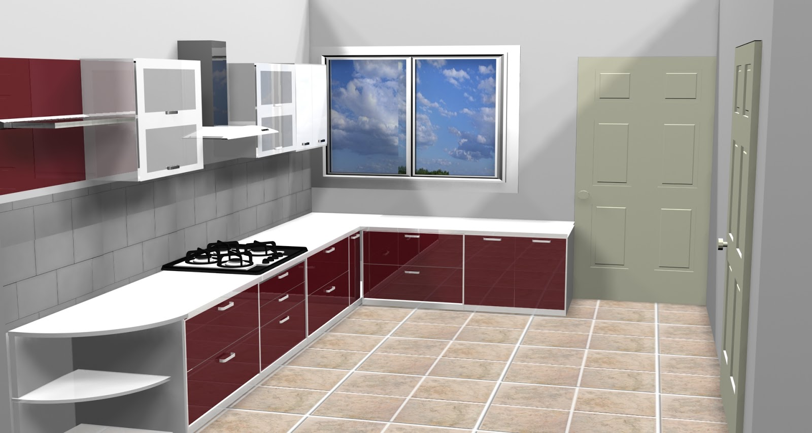 Vasant Kunj Kitchen Layout In 3Ds Max