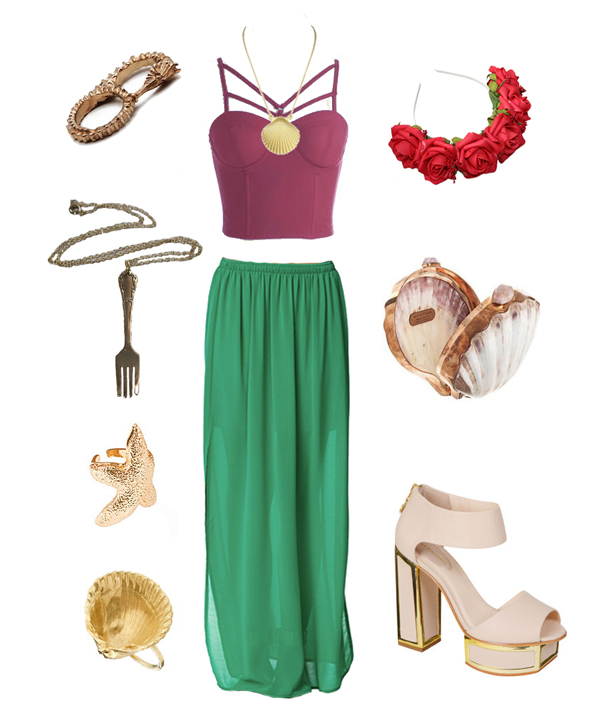ariel look, jade skirt, purple bra top, shell necklace, red rose crown, shell clutch, nude and gold heels, fork necklace, seahorse ring, starfish ring, shell ring