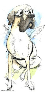 drawing by ammon perry of a mastiff wearing goggles and wings to deliver a baby
