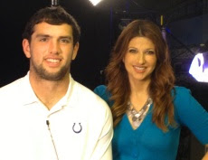 Rachel Nichols of ESPN and Andrew Luck of the Indianapolis Colts