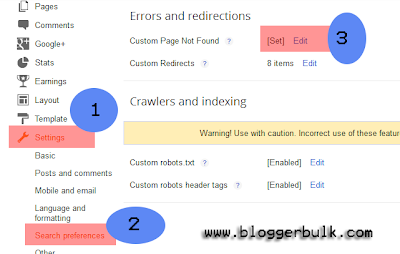 Custom Setting for 404 error page in blogger
