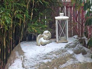 Väntar trädgårdsängeln på snö?