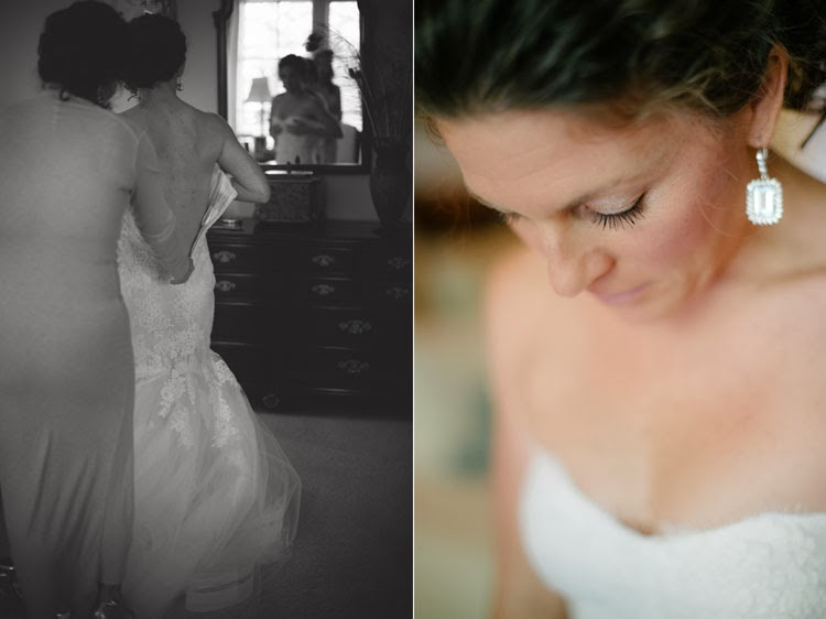 bride slipping into her Monique Lhuillier wedding gown with a naturally capture profile photograph