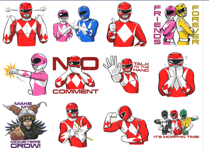 The stickers feature the original five mighty morphin rangers although most of the stickers feature the red ranger or the pink ranger