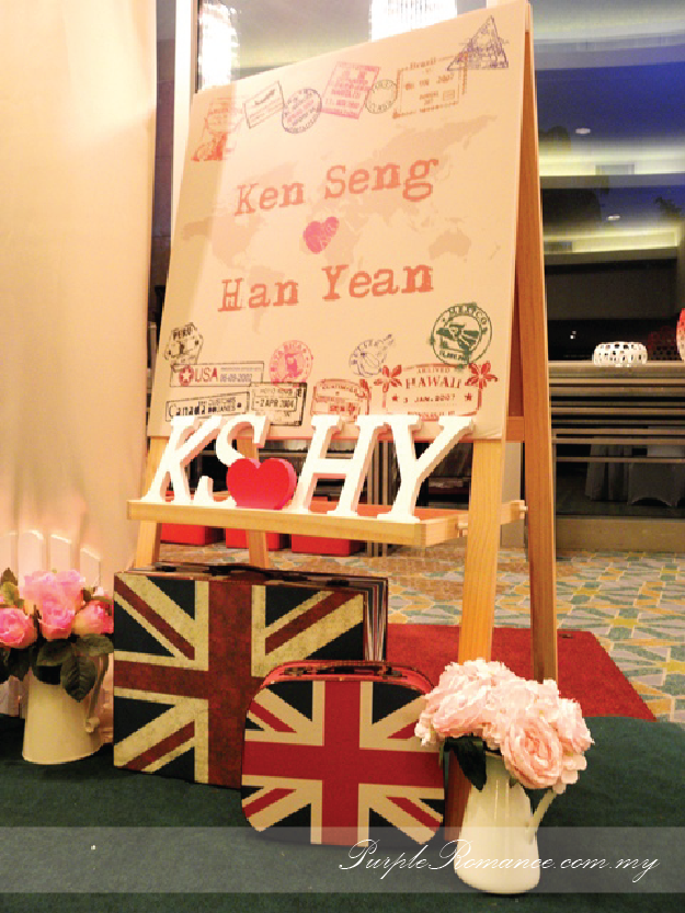 Welcome Board, London bags, passport country stamps, Mandarin Oriental hotel, grand ballroom, wedding decoration, Kuala lumpur, selangor