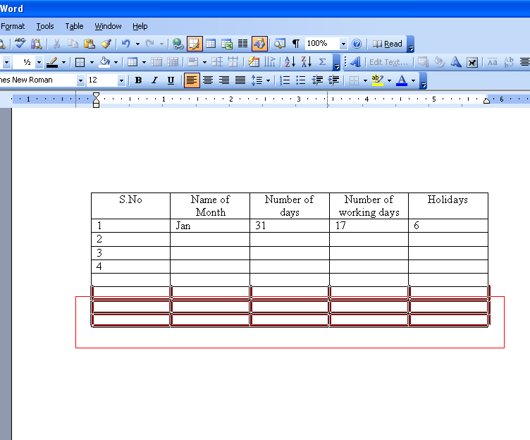 specifications table ms word