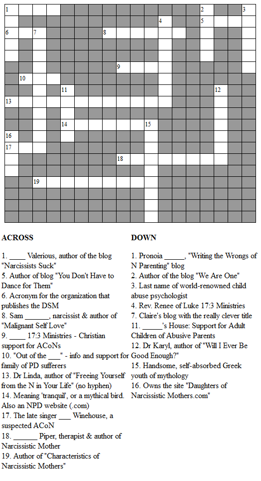 The acon society acon crossword puzzle ii for Soil 8 letters crossword clue
