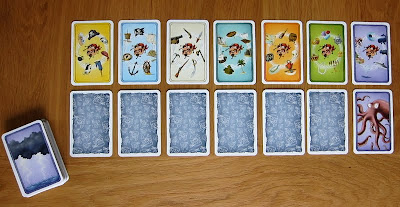 Alles Kanone! - The 7 Topic cards laid out with the deck of Pirate cards and the matching cards turned up