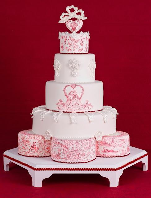 Toile de Jouy Valentines cake