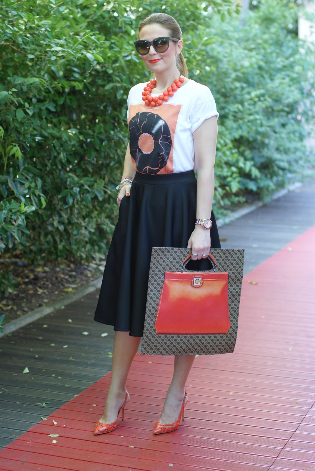 Gherardini bag, Gherardini piattina anniversary 130, Le Silla orange pumps, Asos skirt, Fashion and Cookies fashion blog, fashion blogger
