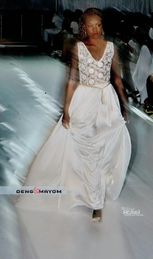 black model wears silk gown on sydney runway, gilbert rossi shoots runway fashion show, glamour of formal wear