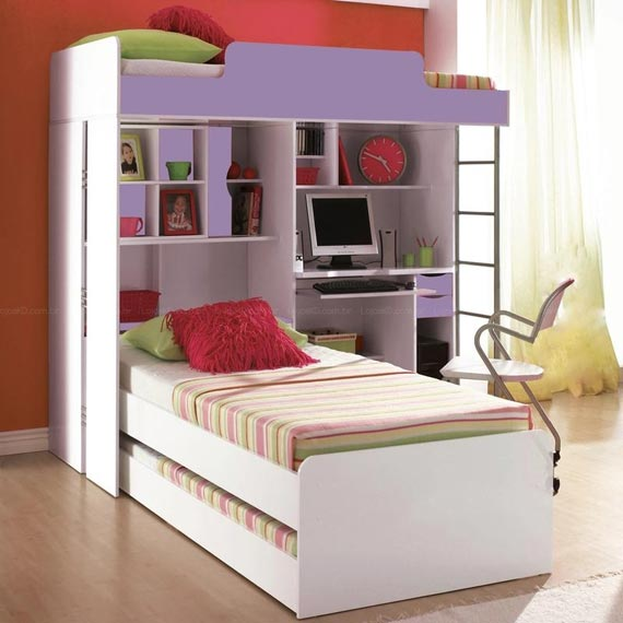 Dormitorio para 3 camas triples bedrooms for 3 for Ideas para decorar camas