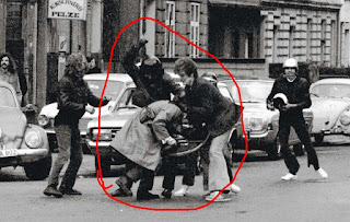 Joschka Fischer, Hans-Joachim Klein and other putzgruppe putzes beating/freedom fighting German police officer Rainer Marx