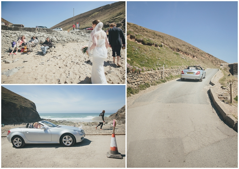 Bride and groom leave the beach in the wedding car