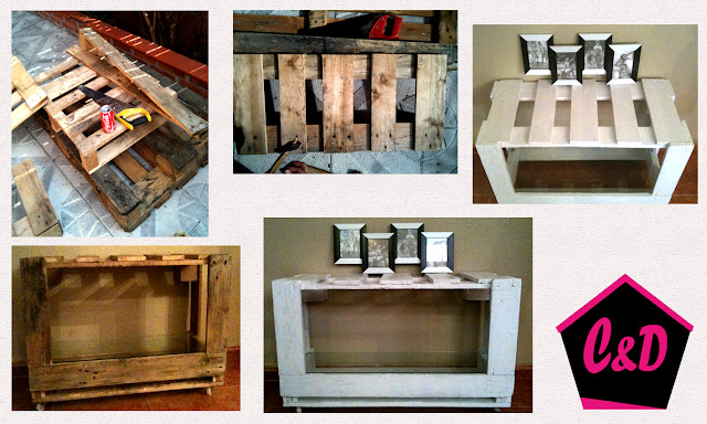 Proceso de creación de mesa con pallets reciclada para decorar hogar