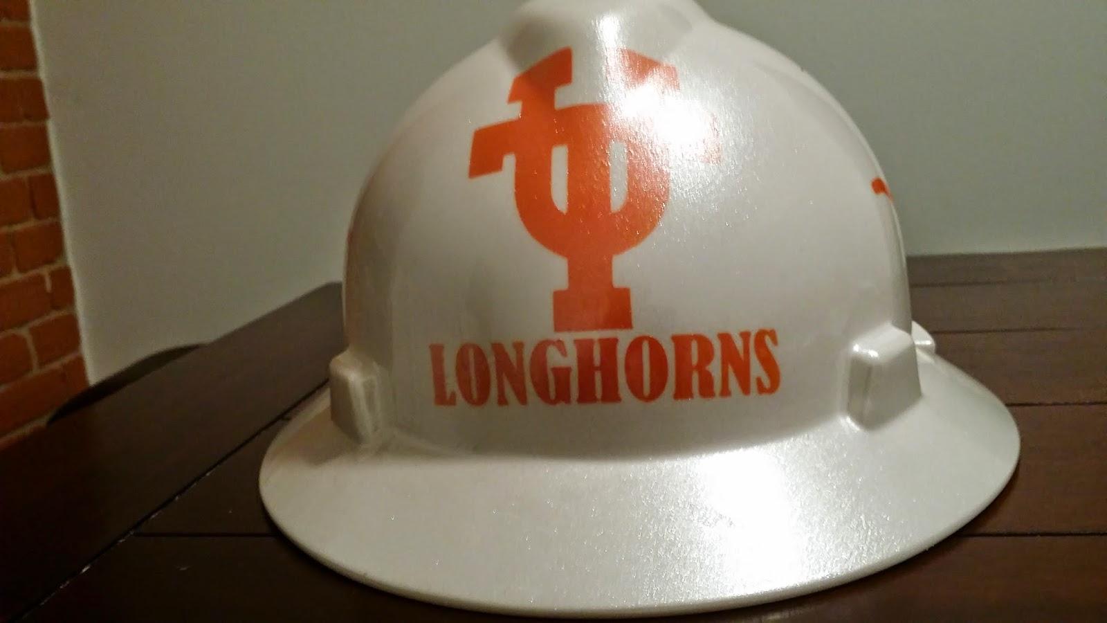 White and Orange UT Longhorns hard hat