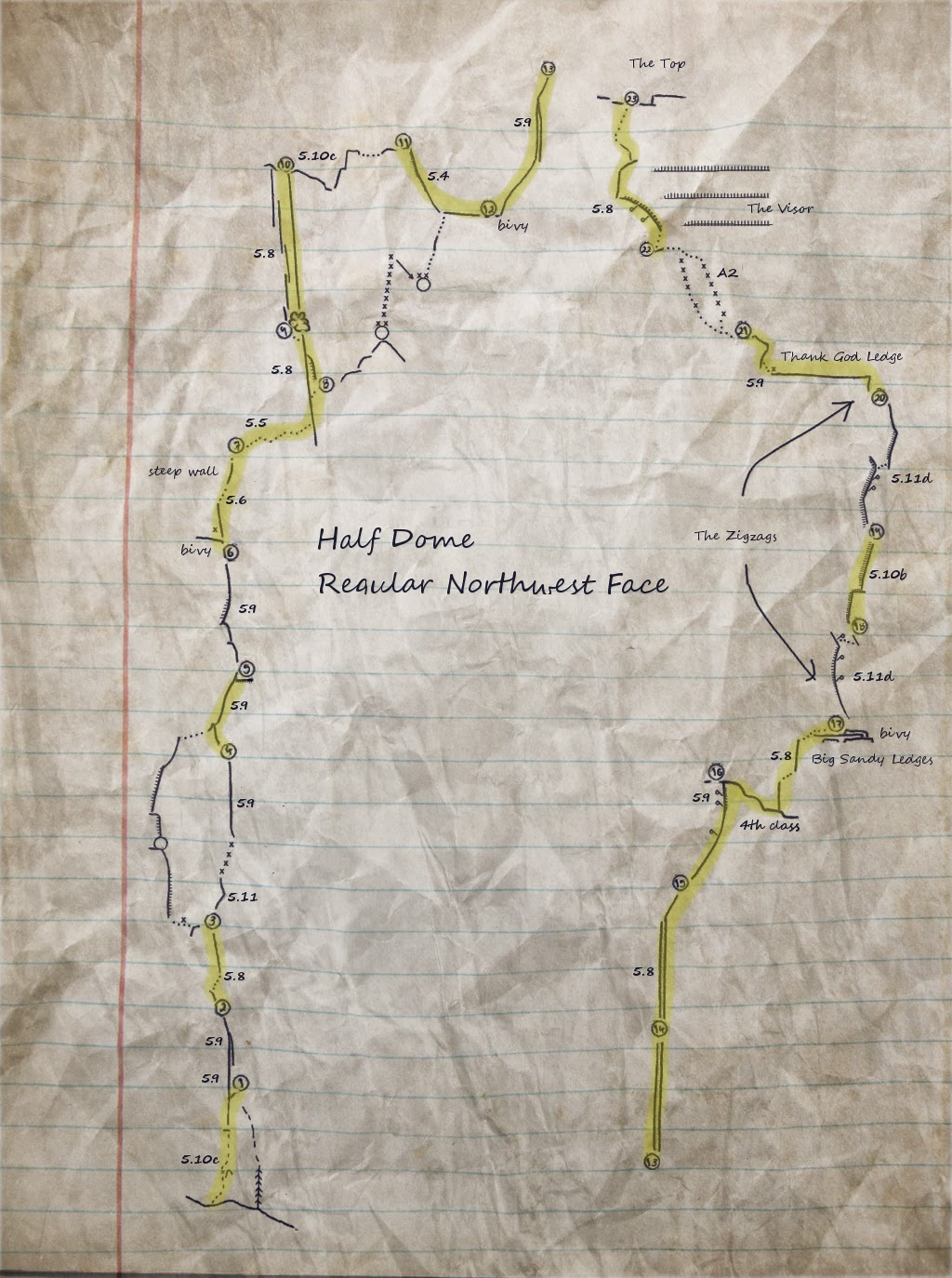 Topo Half Dome Regular Route Climber's Notes