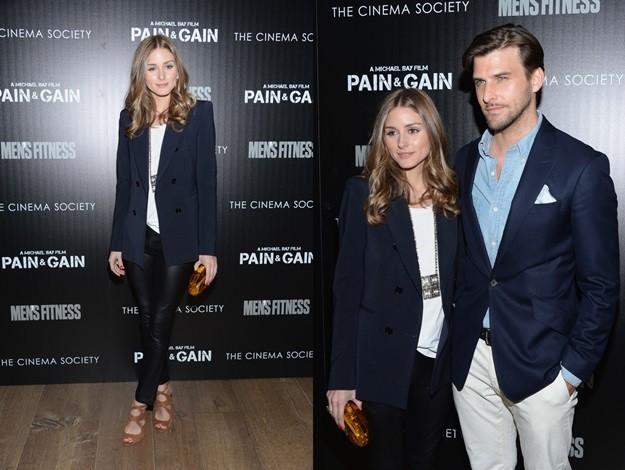 Olivia Palermo con pantalón de cuero y americana
