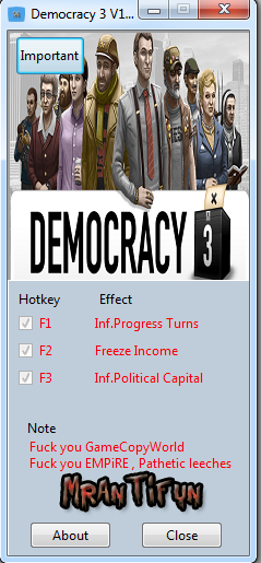 Democracy 3 V1.14 Trainer +3 MrAntiFun