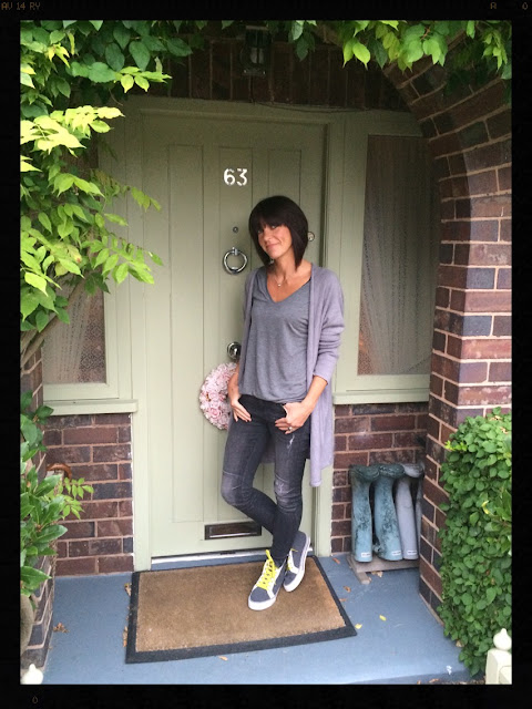 My Midlife Fashion, Rachel Wears Oversized Cardigan, Zara, Skinny distressed biker jeans, Boden Hi top Trainers