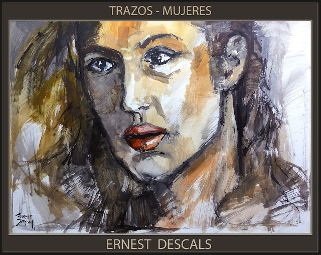 MUJERES-PINTURA-TRAZOS-PINTURAS-MUJER-POSADOS-ARTISTA-PINTOR-ERNEST DESCALS-