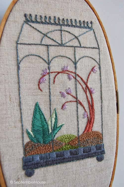 terrarium embroidery hand embroidery patterns wardian case greenhouse embroidery by septemberhouse