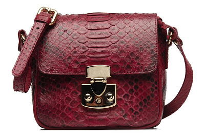 Python effect cross body red bag with gold clasp
