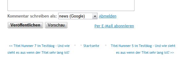 """Statt """"Neuere Posts"""" und """"Ältere Posts"""" Post Titel anzeigen"""