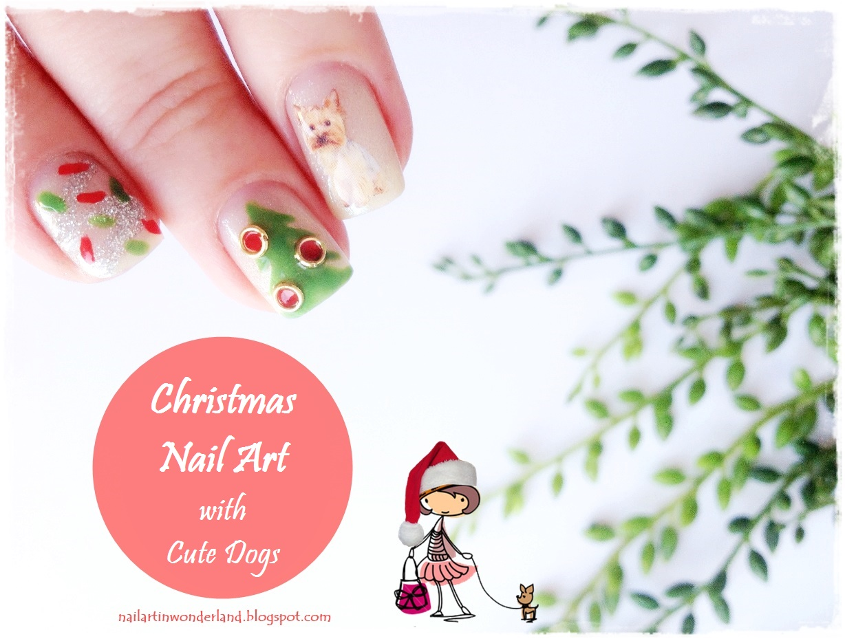 Christmas Nail Art With Cute Dogs