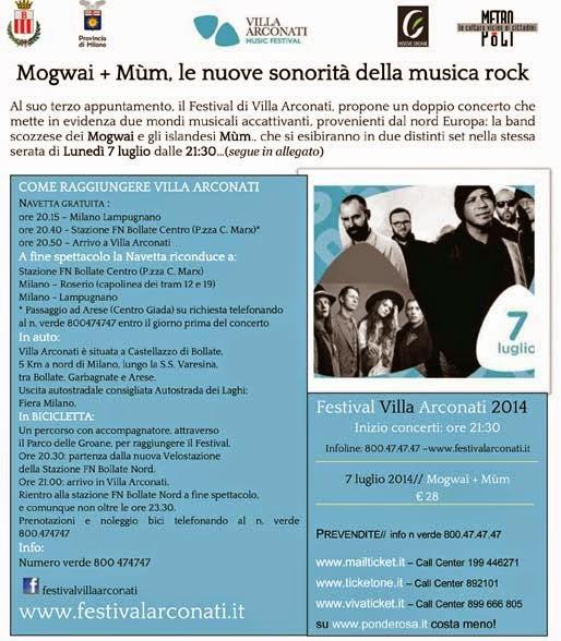 villa arconati festival 2014, Mogway e Mum in concerto il 7 luglio 2014