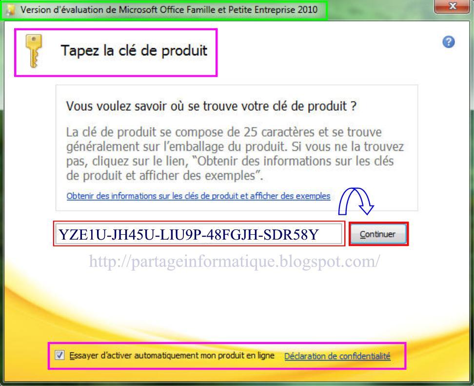 Partage informatique installation microsoft office 2010 - Office famille et petite entreprise 2010 ...