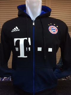 gambar photo Sweater jaket hoodie Bayern Munchen warna biru navy hitam 2015
