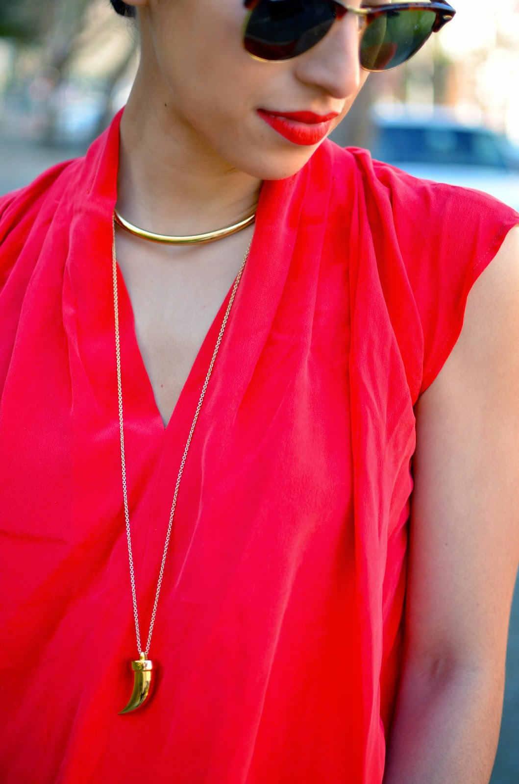 red silk top, scarlet silk top, Podolls silk top, The Podolls, Les Mechantes silk top, SF, San Francisco, OOTD, Ray Ban club masters, gold jewelry, The New BR