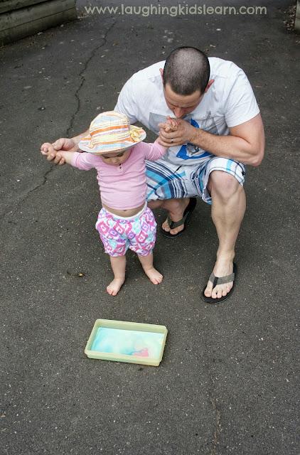 Making chalk paint using cornflour or cornstarch for sensory play