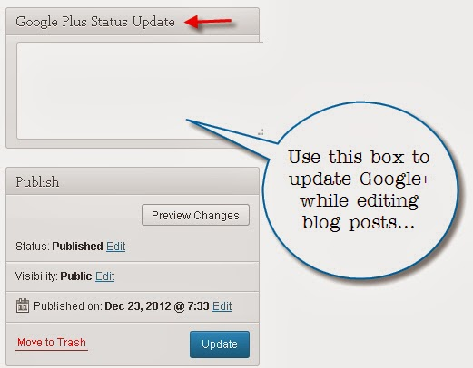 Post to Google+ from WordPress dashboard