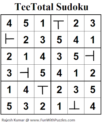 TeeTotal Sudoku (Mini Sudoku Series #58) Solution
