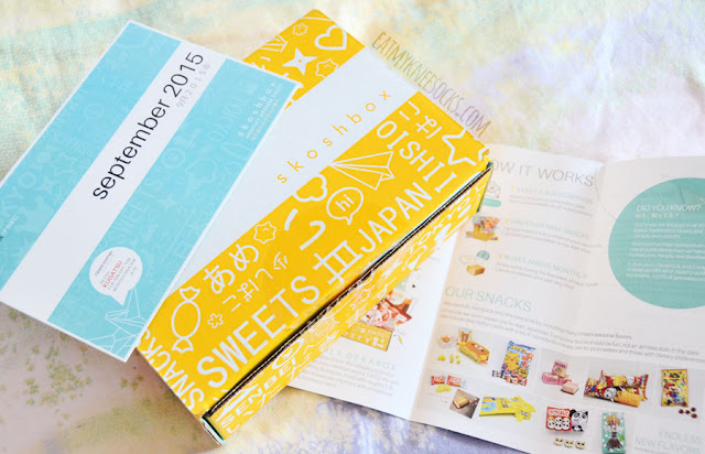 The Skoshbox DEKAbox comes with a brochure about Skoshbox's Japanese treats and a information card listing each individual snack.