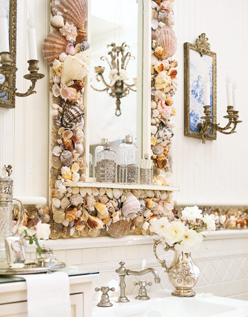 Bathroom Mirrors Ideas on To Da Loos  Decorating With Shells In Your Washroom  Part 1