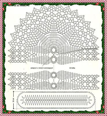 Caminho de mesa, centro de mesa em crochê com gráfico