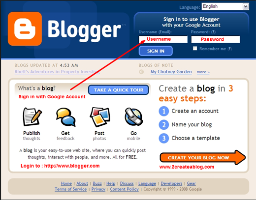 Create a Blog on Blogger - Go to Blogger.com - Sign in - Step-1