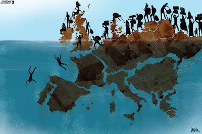 Cartoon Refugiados Migrantes Sírios Crise Migração na Europa