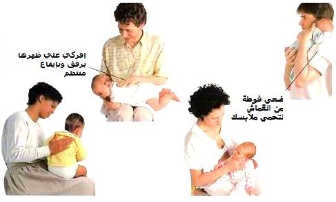 الريح والتجشؤ بعد رضاعة الطفل