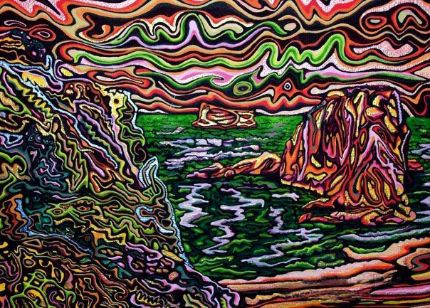 Evening at the Cove - Psychedelic Painting by Graham Matthews