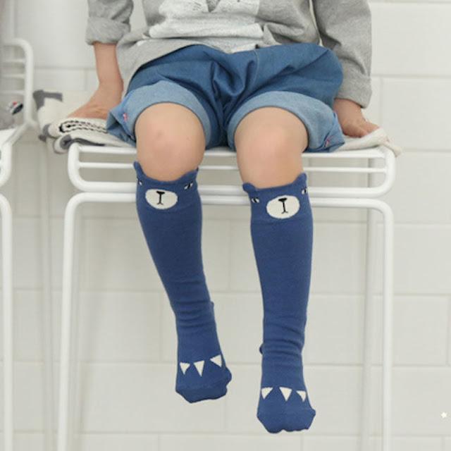 Mini Dressing Blue Bear Knee High Socks
