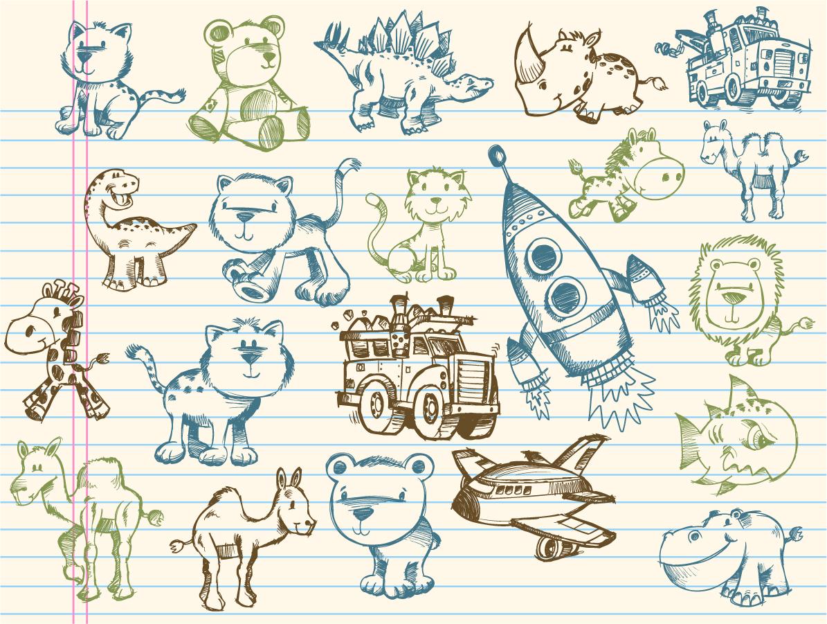 可愛い落書きのクリップアート cute graffiti pattern イラスト素材2