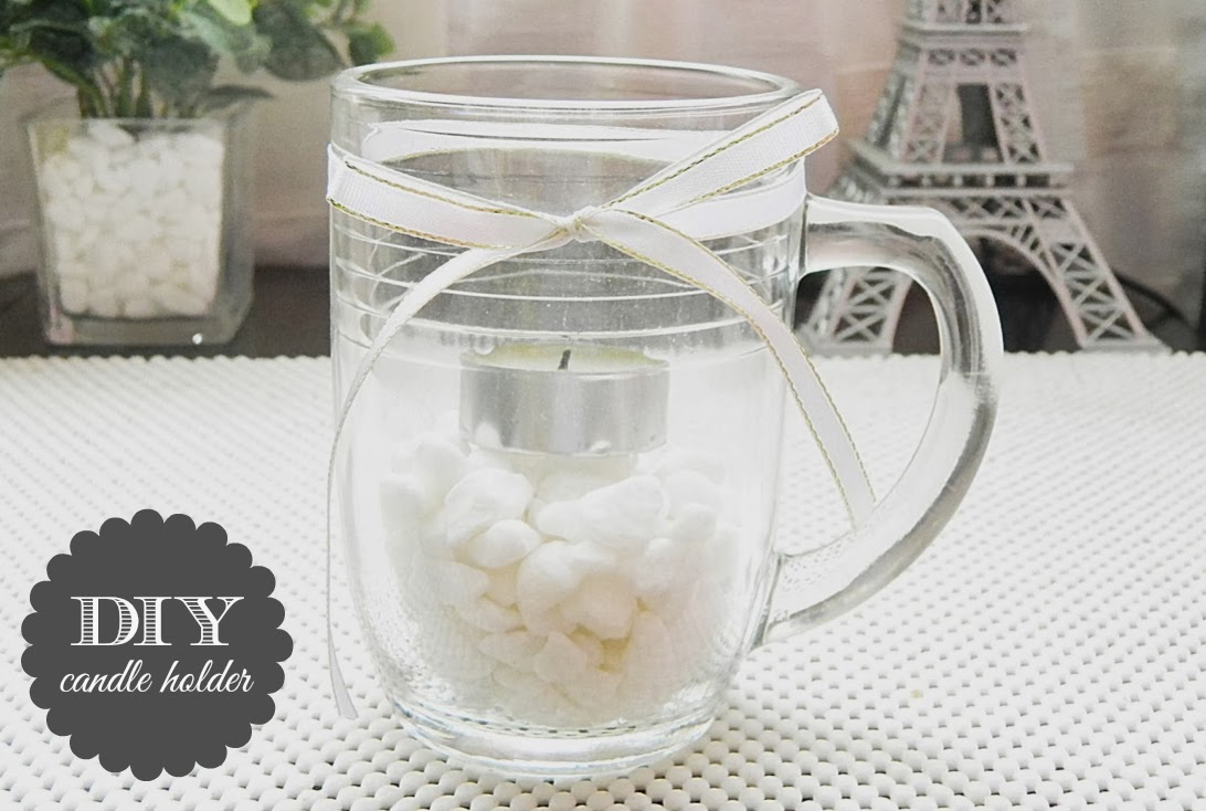 diy candle holder mug how to tutorial white quick easy home decoration