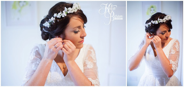 bride putting on earrings, diane harbridge, floral crown, high house farm brewery, northumberland wedding, farm wedding, quirky wedding, alternative wedding photography, high house farm, brewery wedding, matfen brewery, matfen wedding, yap bridal boutique, wildflowers, katie byram photography, floral wedding, vintage wedding