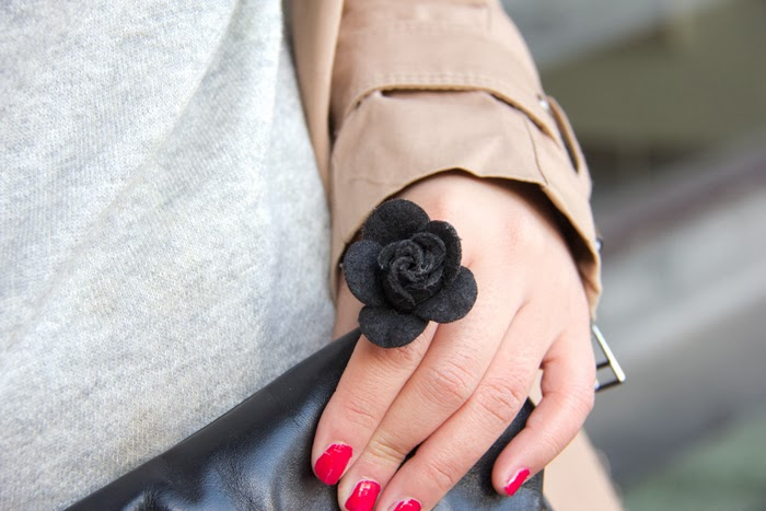 Flower-Black-Ring, Red-Nail-Polish, Street-Style, Fashion-Blogger