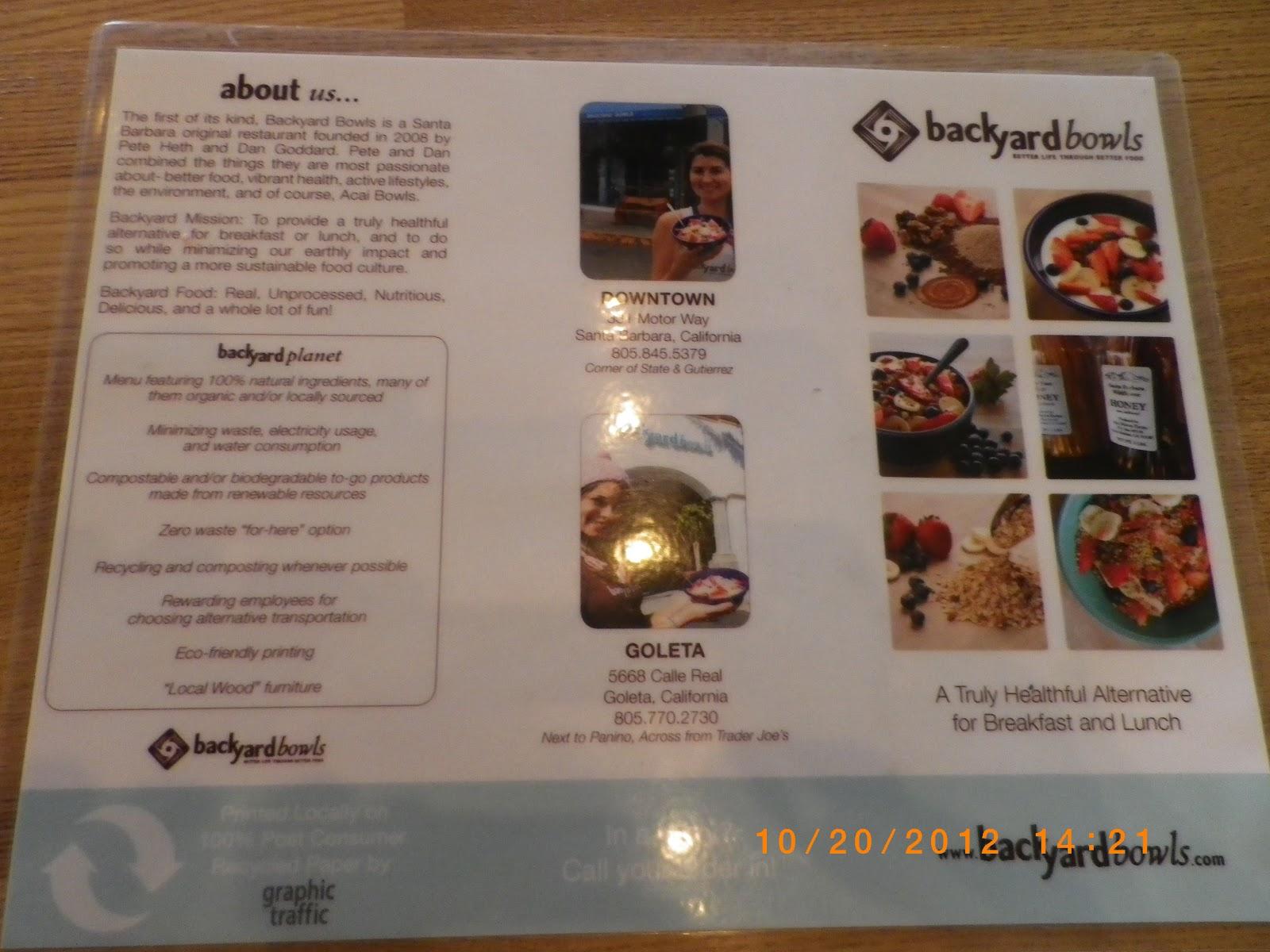 Backyard Bowls Menu vc menu: backyard bowls - goleta