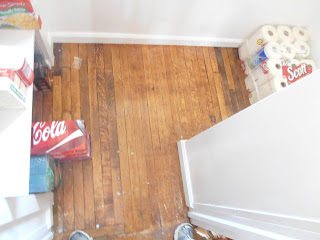Floor and layout of the under-stairs pantry